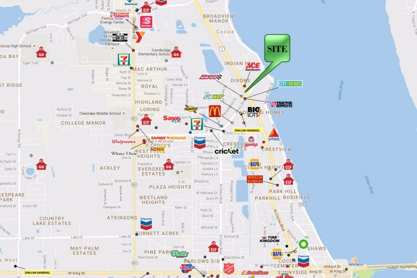 Cocoa Florida Map.1301 And 1201 N Cocoa Blvd Watson Commercial Real Estate